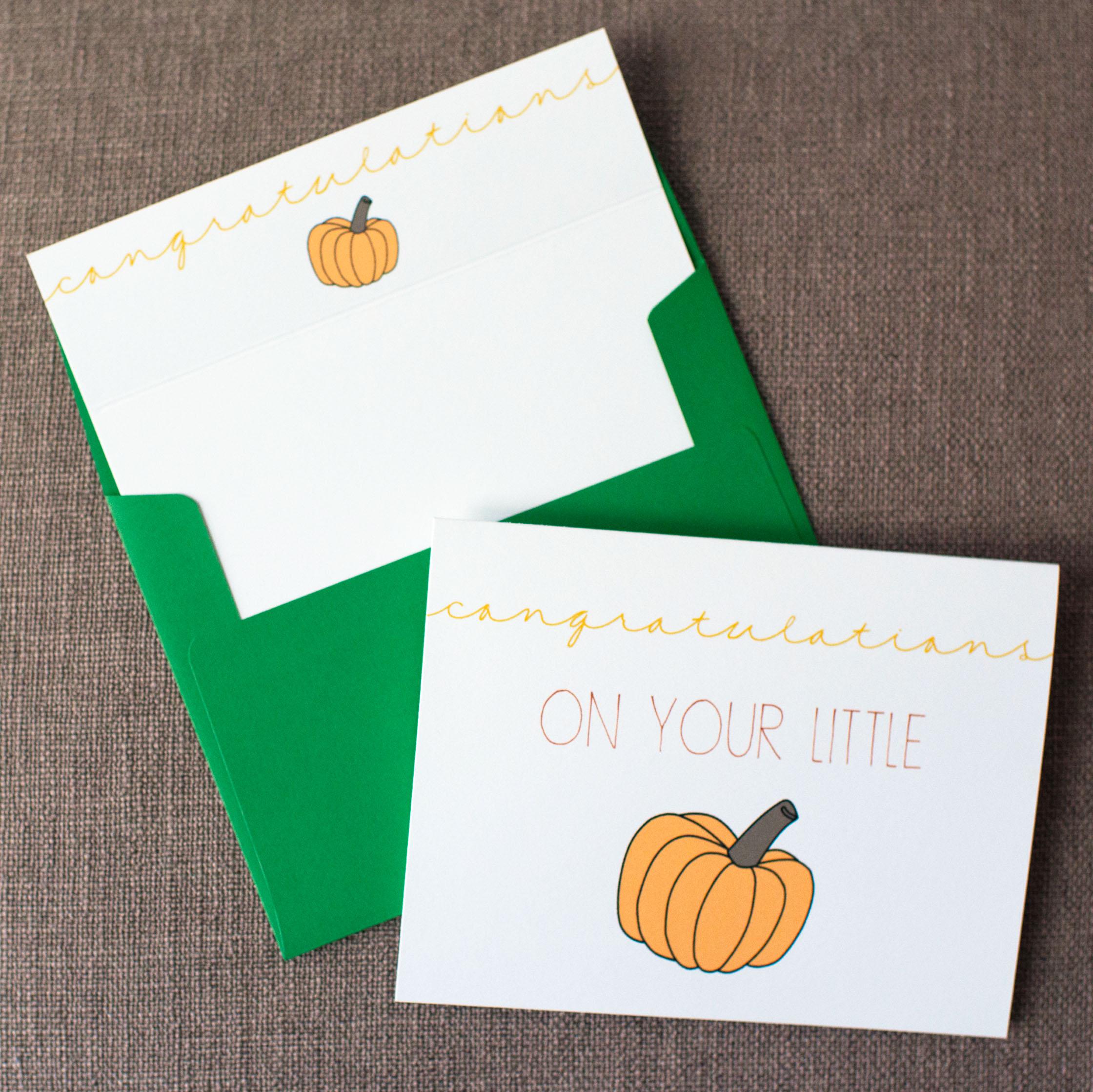 Congratulations On Your Little Pumpkin - Yellow Card