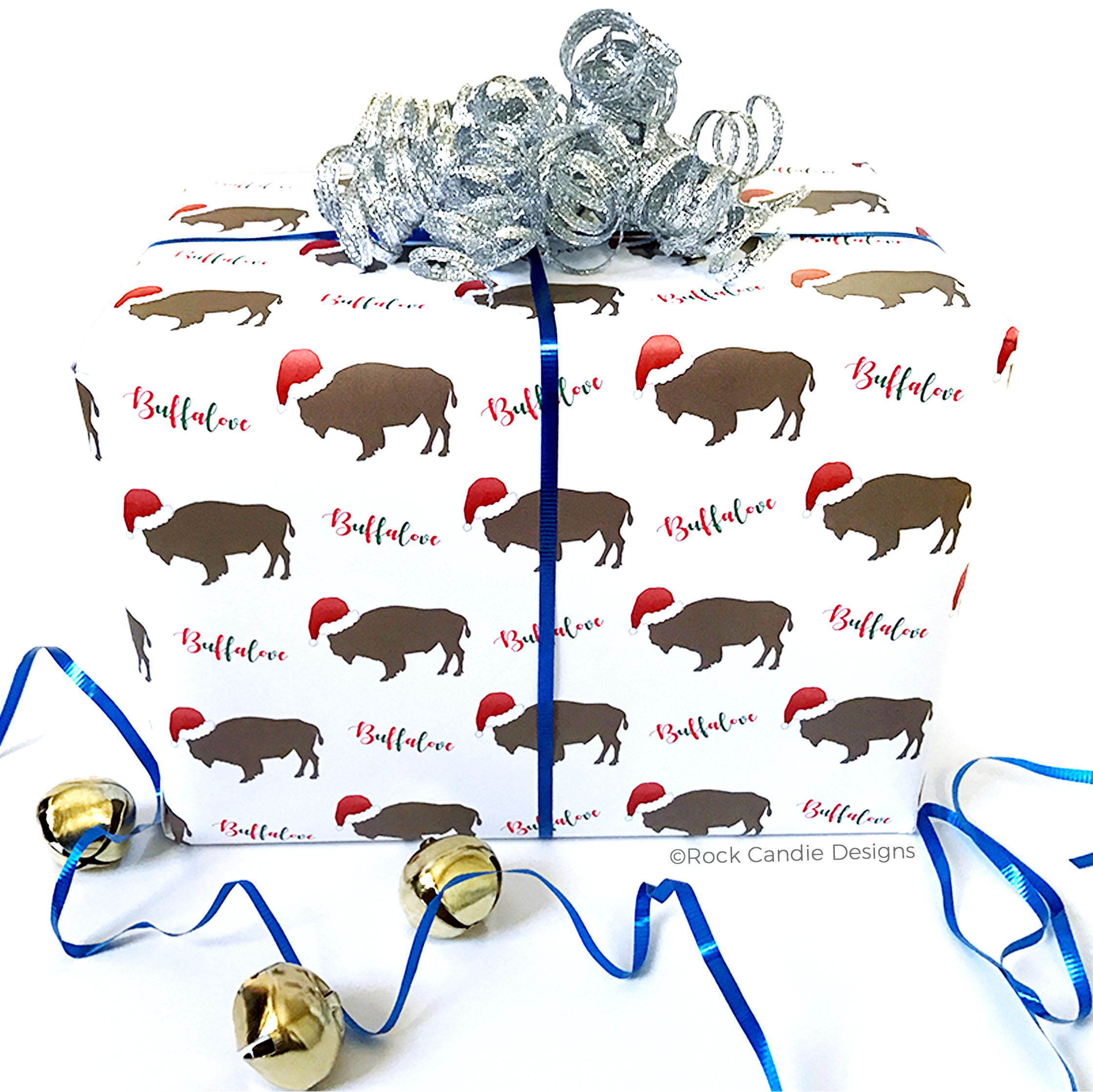 Buffalove Buffalo Wearing A Santa Hat Wrapping Paper
