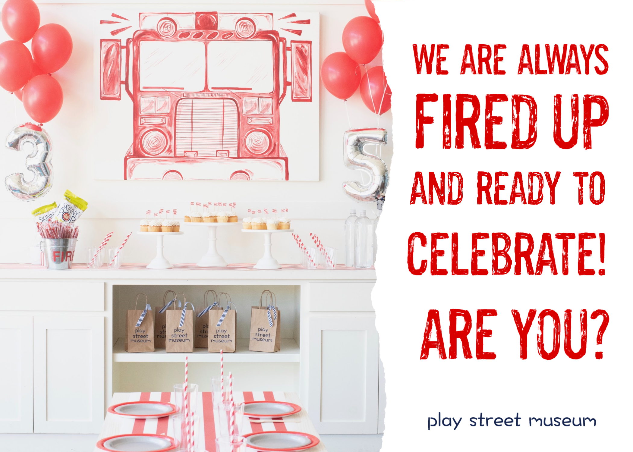 kids birthday party parties fire truck