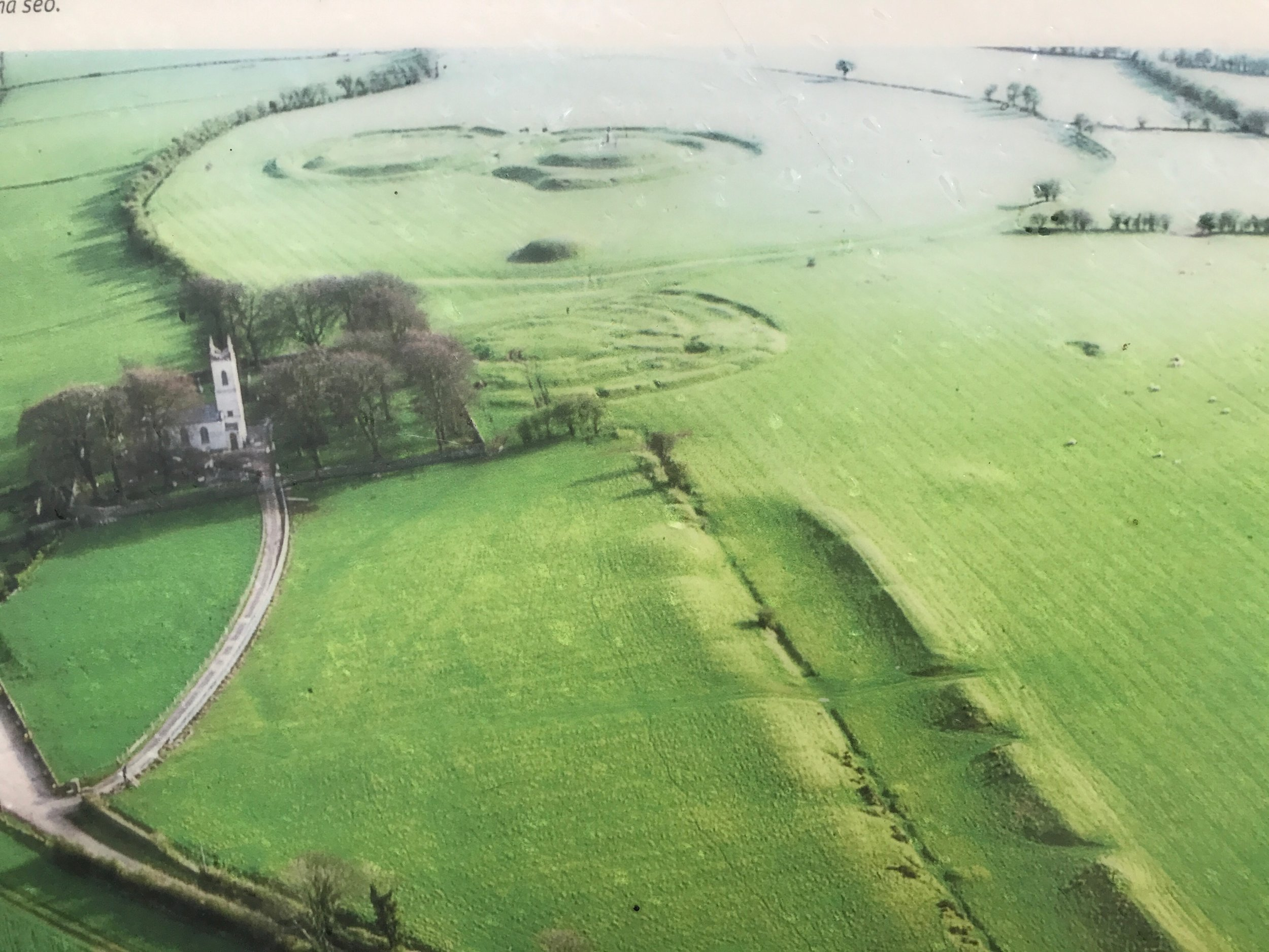 An aerial view of the Hill of Tara