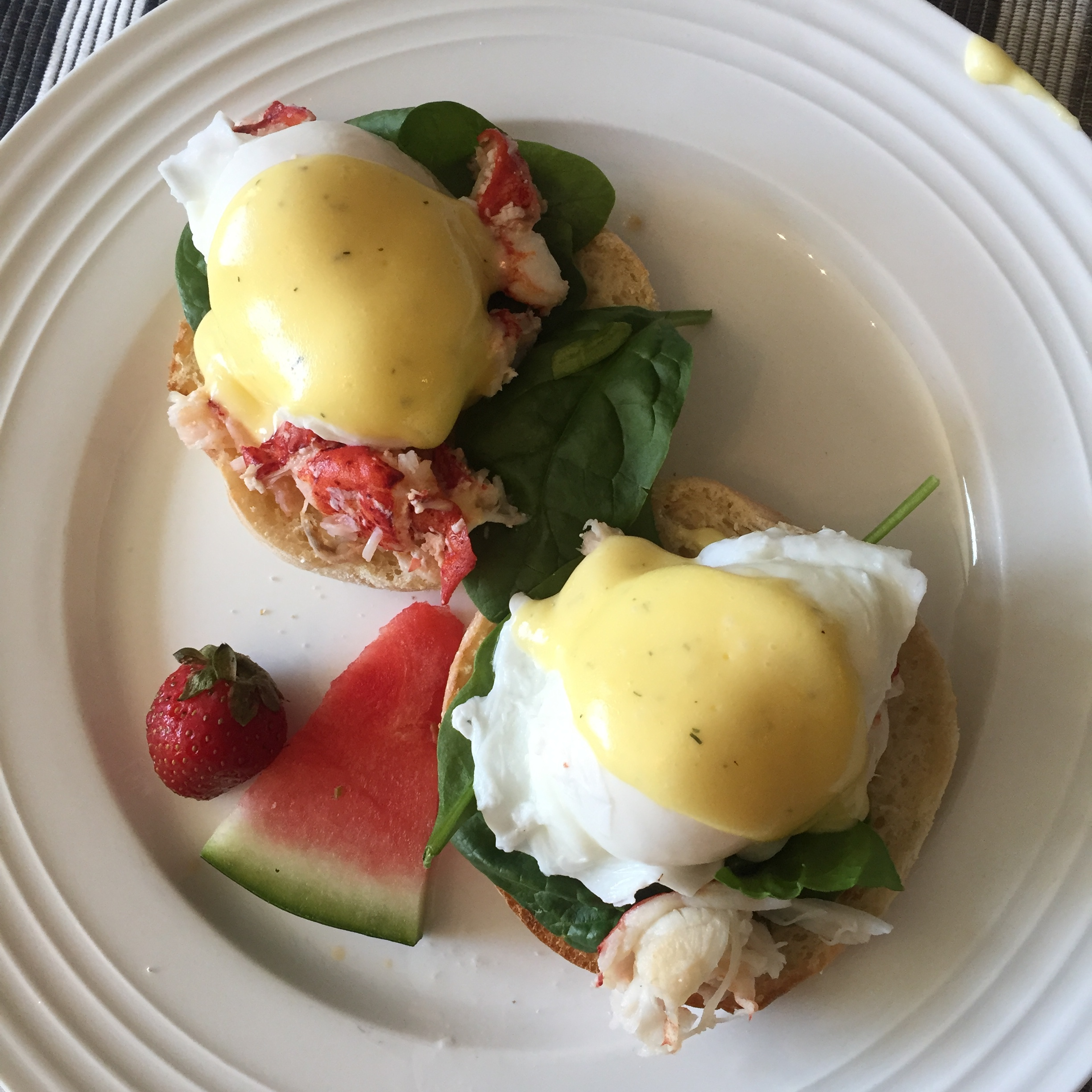 Fresh seafood! The lobster benedict at our bed and breakfast Hillhurst Inn.