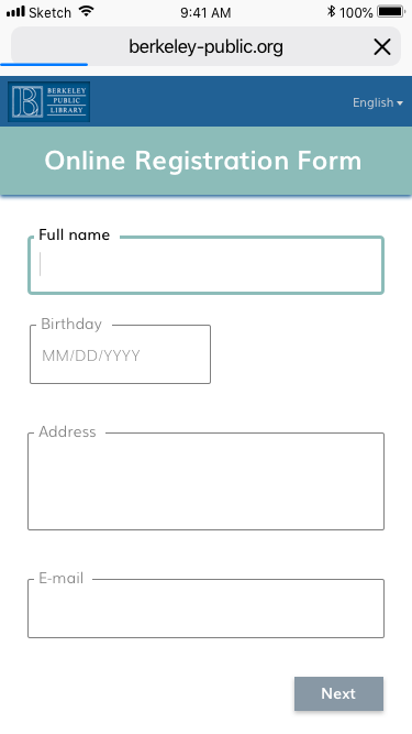 """Form (Default)     Note:   I replaced the previous page that asked for birth year with a simple code in the birthday field that calculates the user's age based on their input to eliminate redundancy and streamline the process. I expanded the data field to include full birthdate (month and day, not just year) because depending on the month, a user may or may not be 14 (for example, someone born in 2004 may have not yet turned 14 as of today). If the user is under 14, an additional form page will be displayed after selecting """"next"""". If the user is over 14, they will move forward to the summary page."""