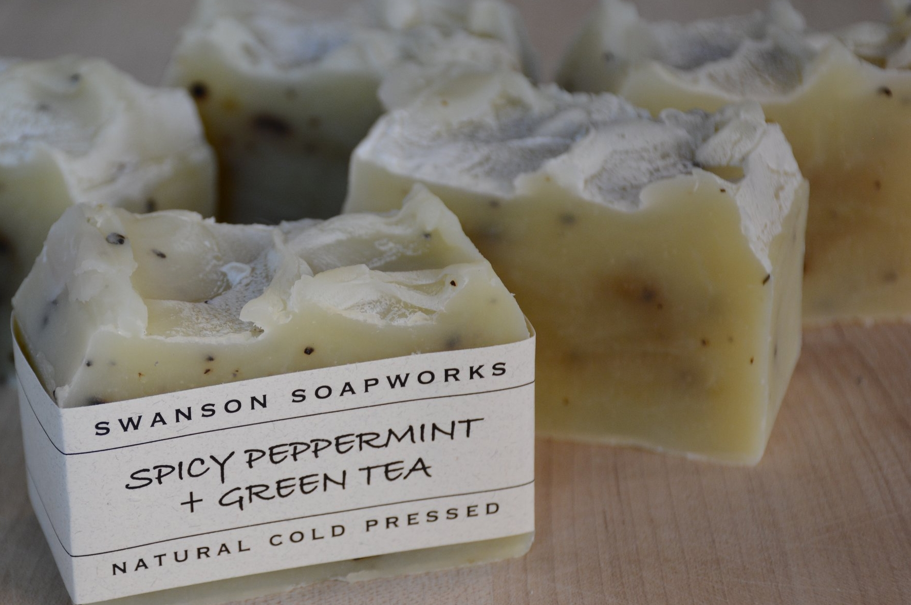 our spicy peppermint + green tea soap bar