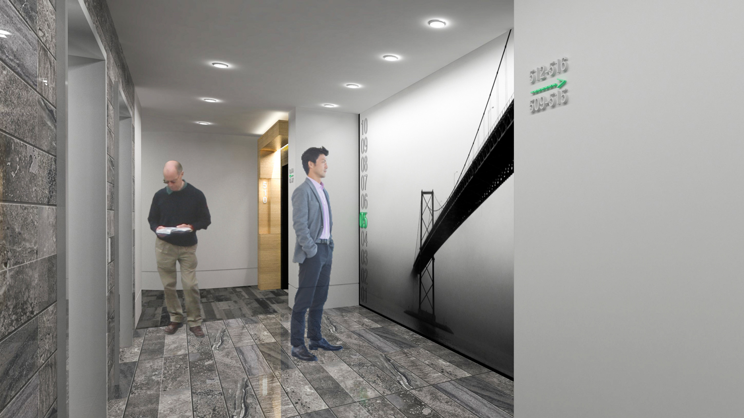 ELEVATOR LOBBY Lobby design, including material selection and photography.