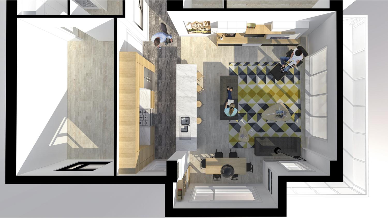 UNIT floor plan render.