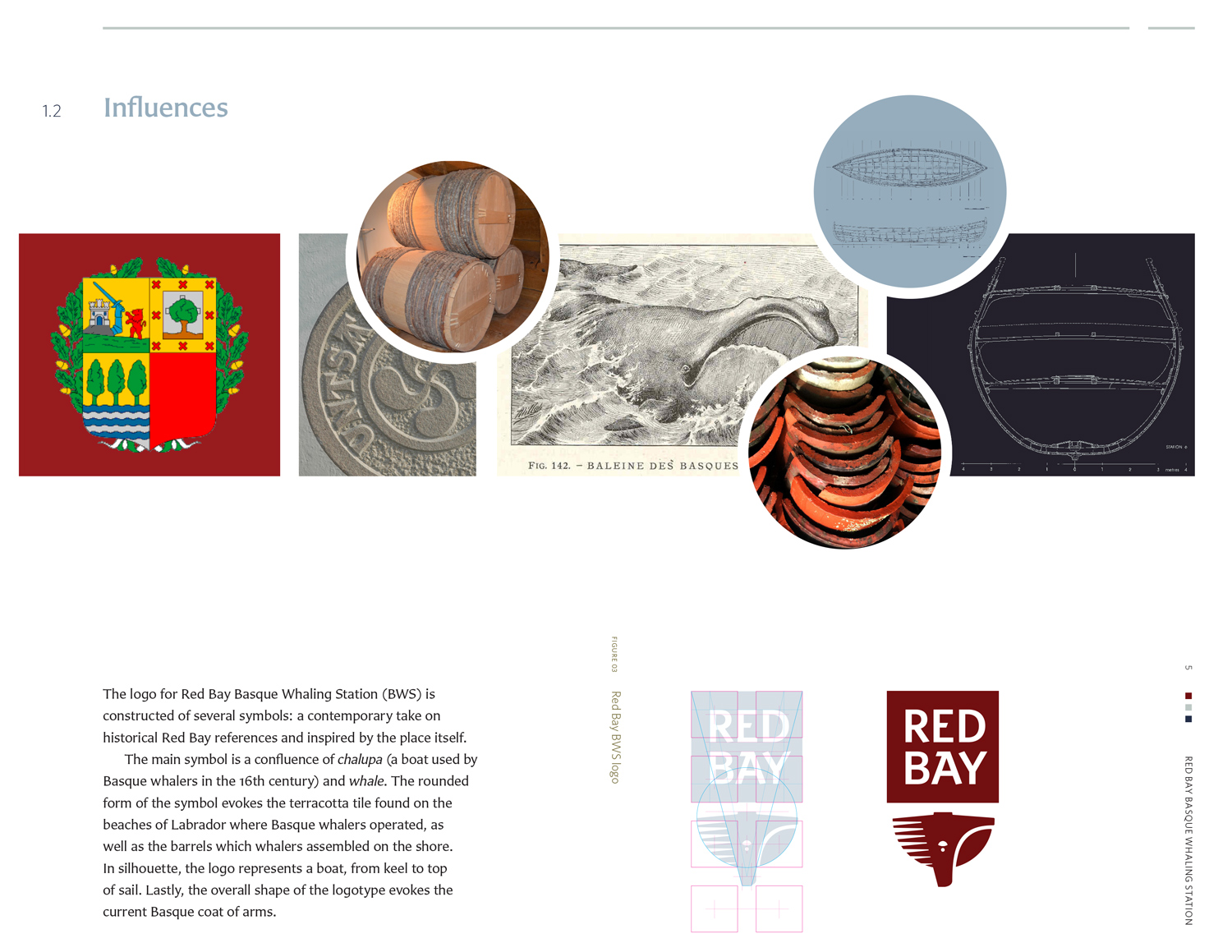 INFLUENCES The logo for Red Bay Basque Whaling Station is constructed of several symbols: a contemporary take on historical Red Bay references and inspired by the place itself.