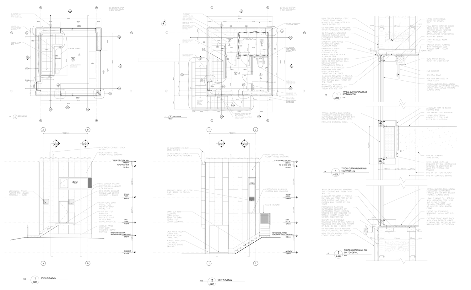CONSTRUCTION DRAWINGS Plans and elevations.