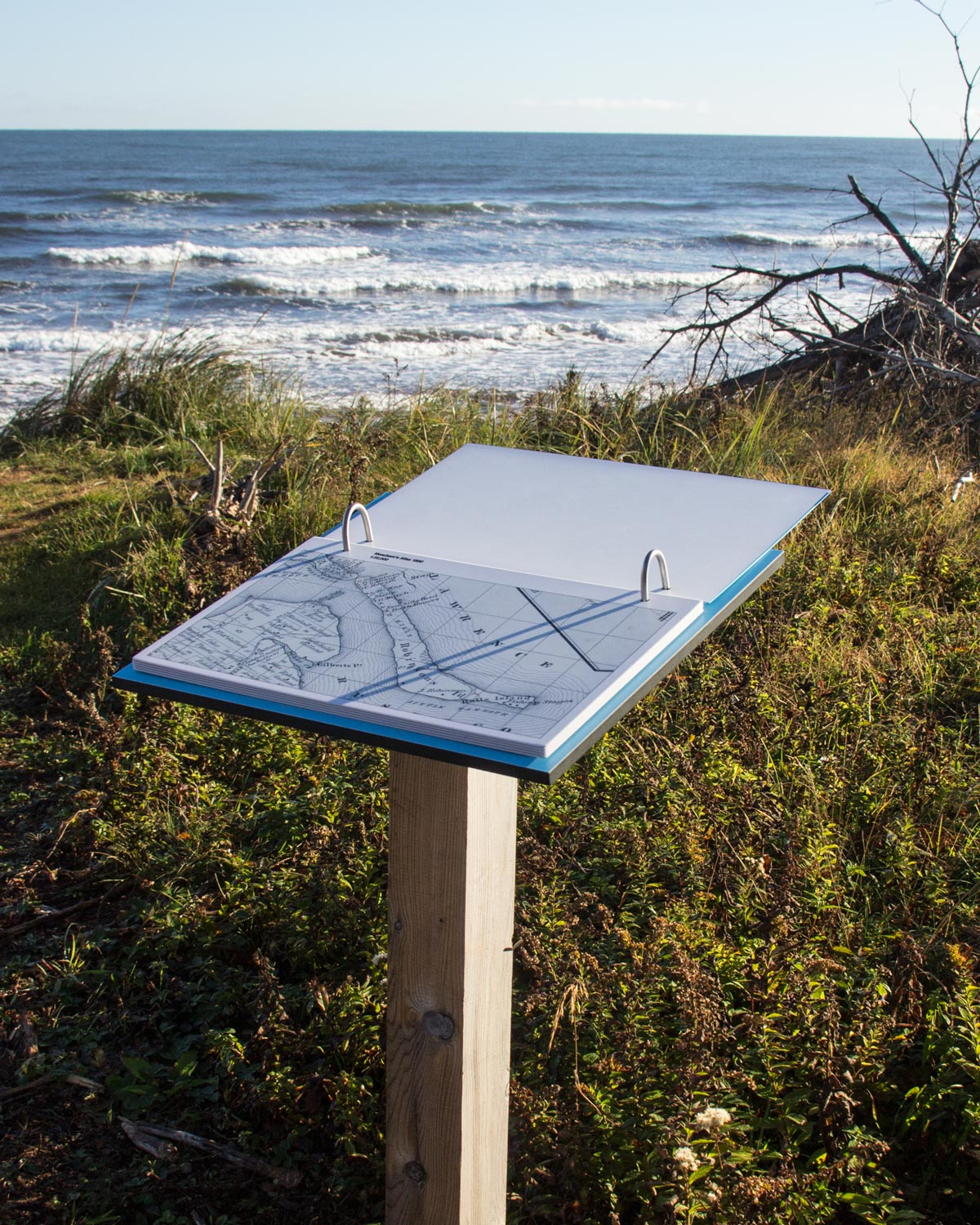 POWER OF SEA AND WIND Changes wrought on the landscape are interpreted in a flip book that illustrates—through map and satellite photography—the affects of natural and human forces.