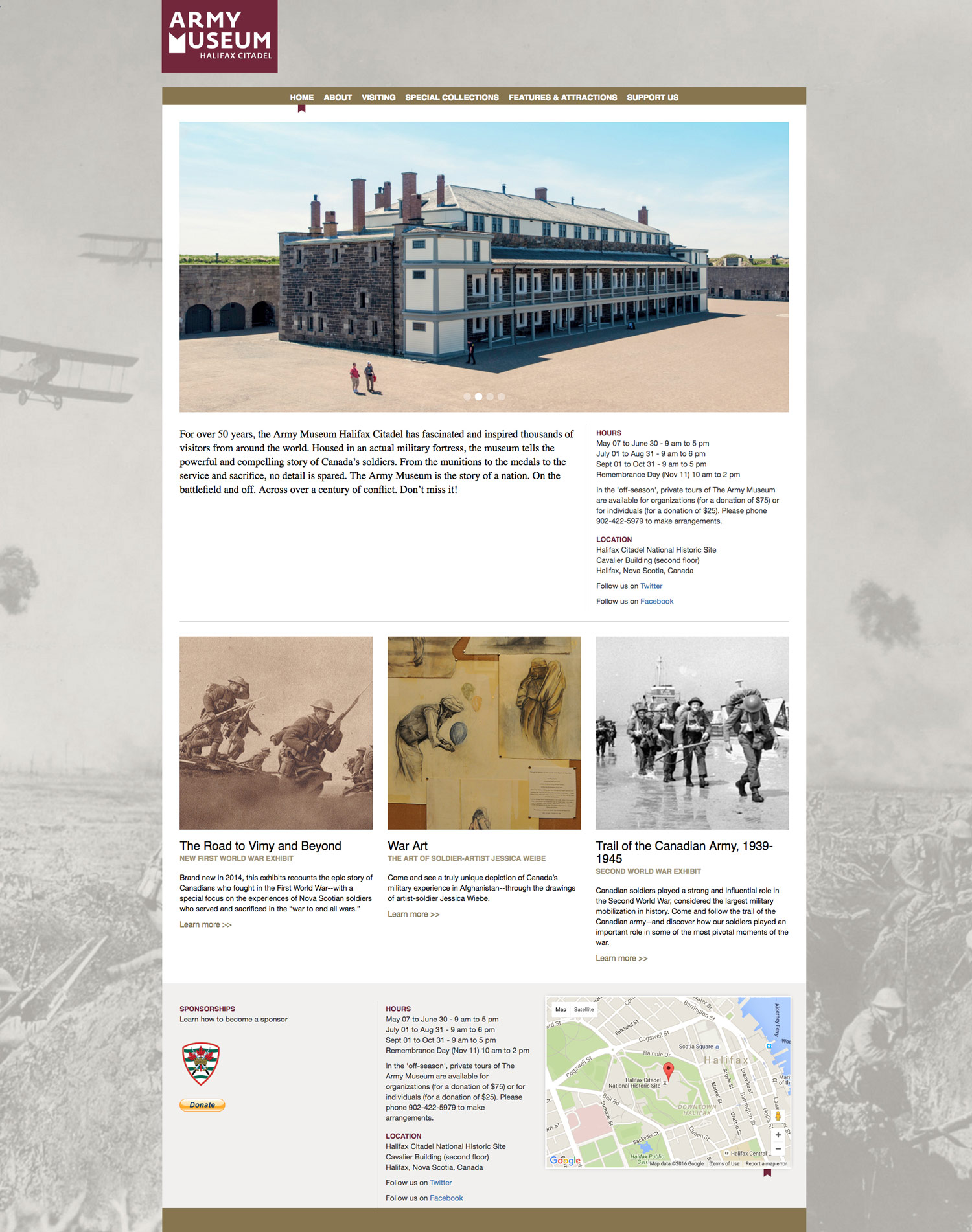 WEBSITE We worked with the Army Museum Halifax Citadel to develop, design, and deploy a new AMHC website.