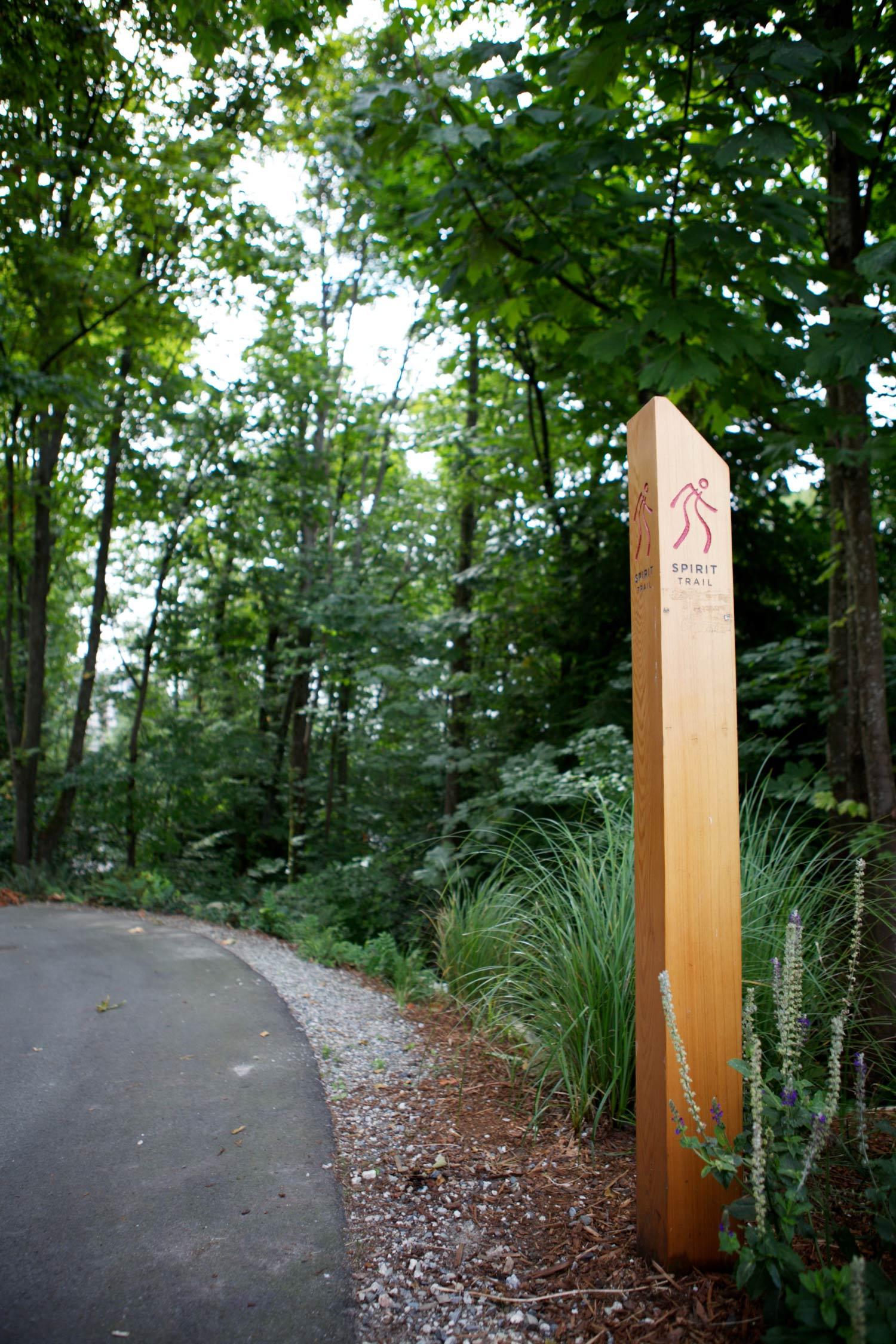MINOR ENTRANCE IDENTIFICATION A minor entrance identification post subtly but clearly identifies entrances.