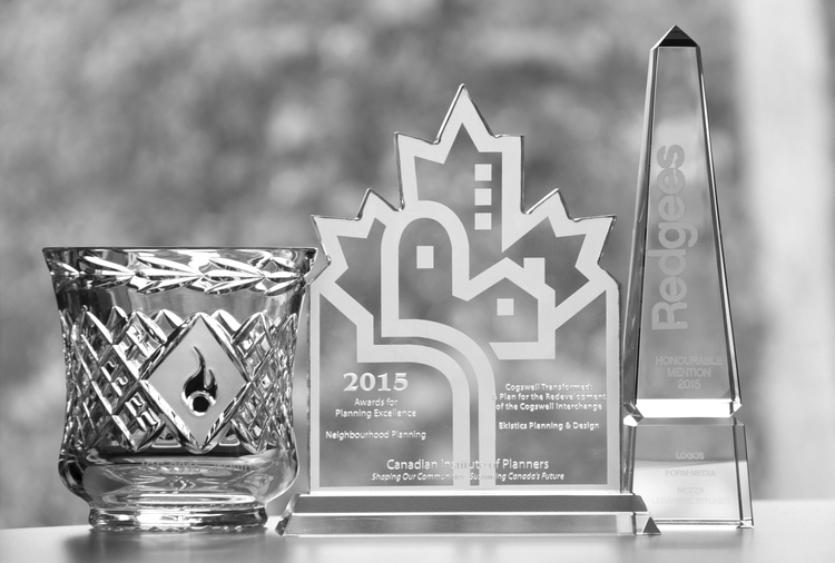Awards from: Innovation, Creativity, and Excellence Awards; Canadian Institute of Planners; and Canadian Regional Design Awards.