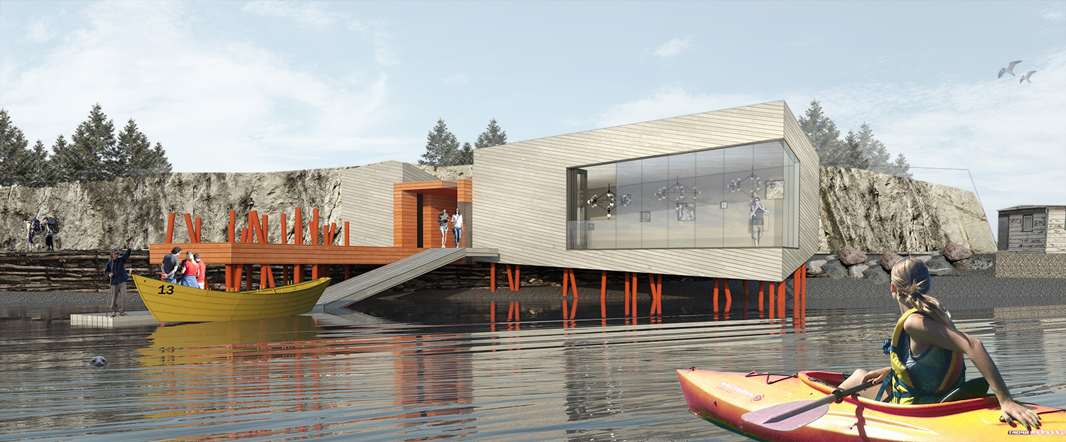 The new wharf can be used as event or performance space. A lower, floating portion, can act as a kayak or dory rental launch and allow visitors to access and view the property from the water.