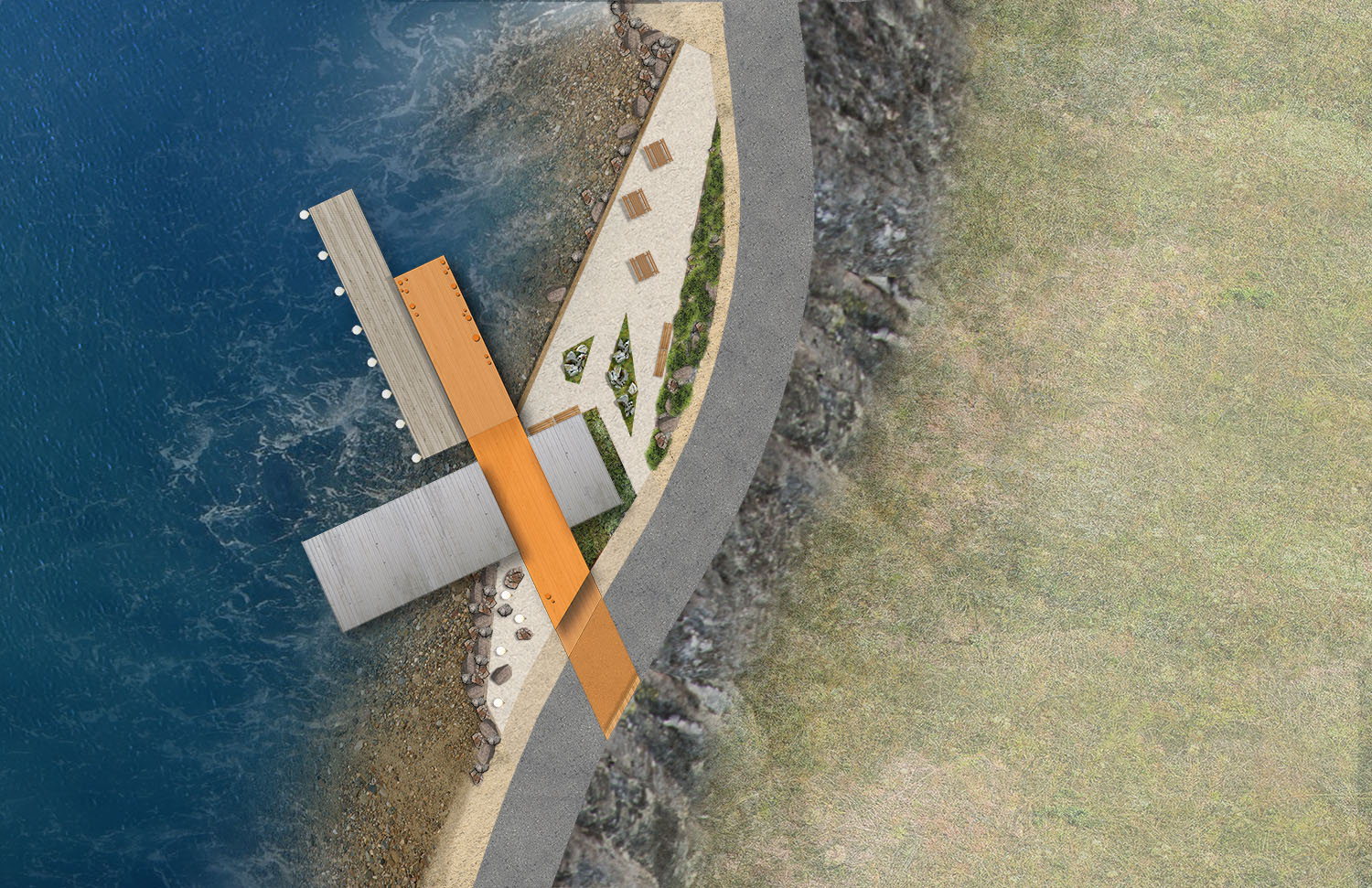 The site plan enforces the linear nature of the building and the wharf. The property will be treated to blend in with the surrounding landscape while providing accessible paths, picnic areas, and spill out space for events