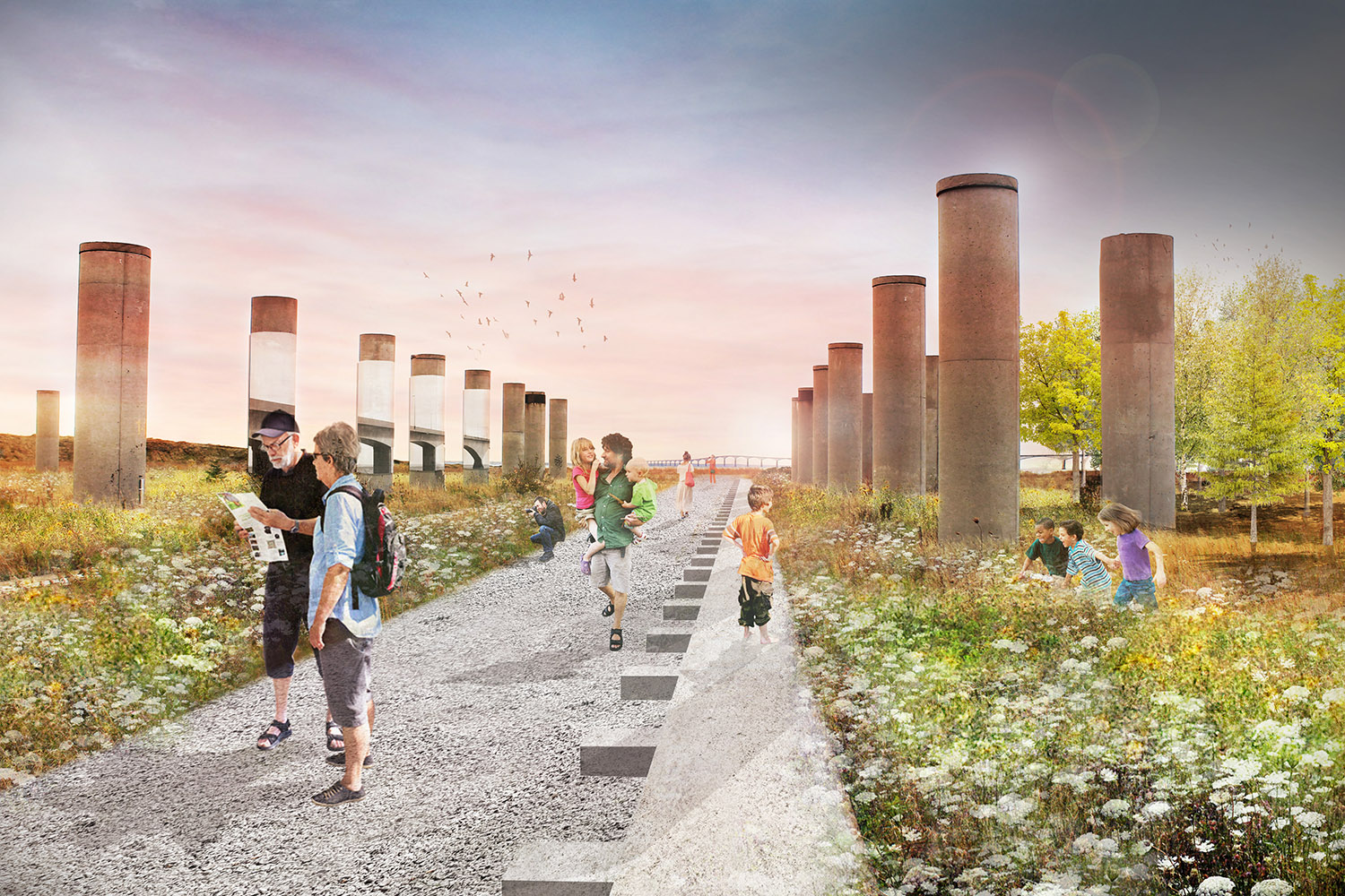 The plan celebrates the importance of the Fabrication Yards through creating it as a park, and cultural hub for Island.