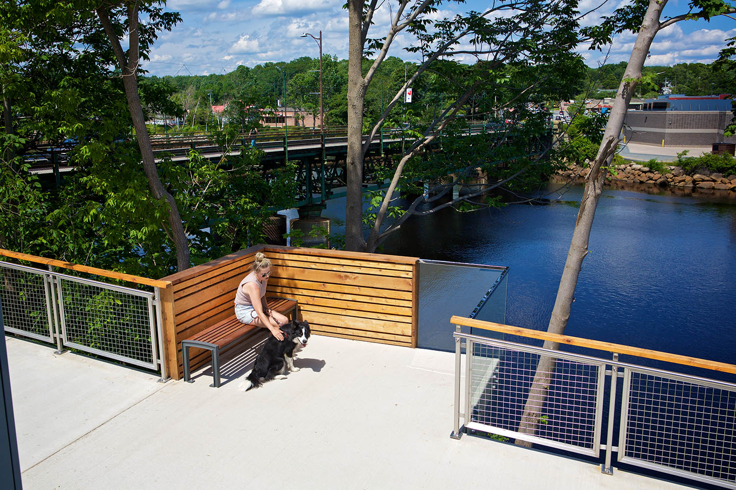 Lookout pods create spaces for reading, conversation, or enjoying the view.