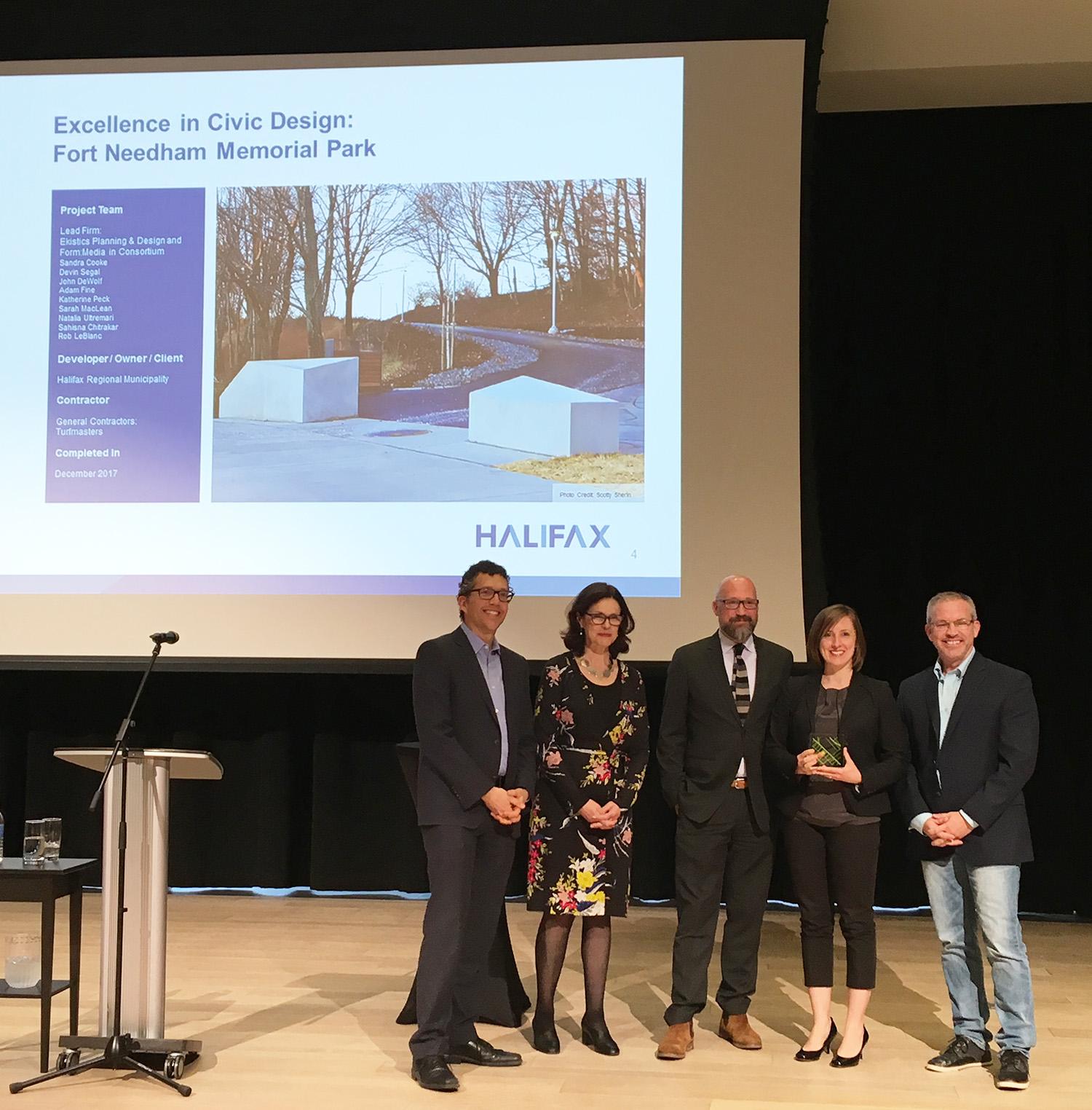 Halifax Urban Design Awards Jurors Antonio Gomez-Palacio and Anne McIlroy, John DeWolf - Form: Media, Sandra Cooke - Ekistics Plan + Design, Rob LeBlanc - Ekisitcs Plan + Design & Form: Media  Photo: Ekistics Plan + Design