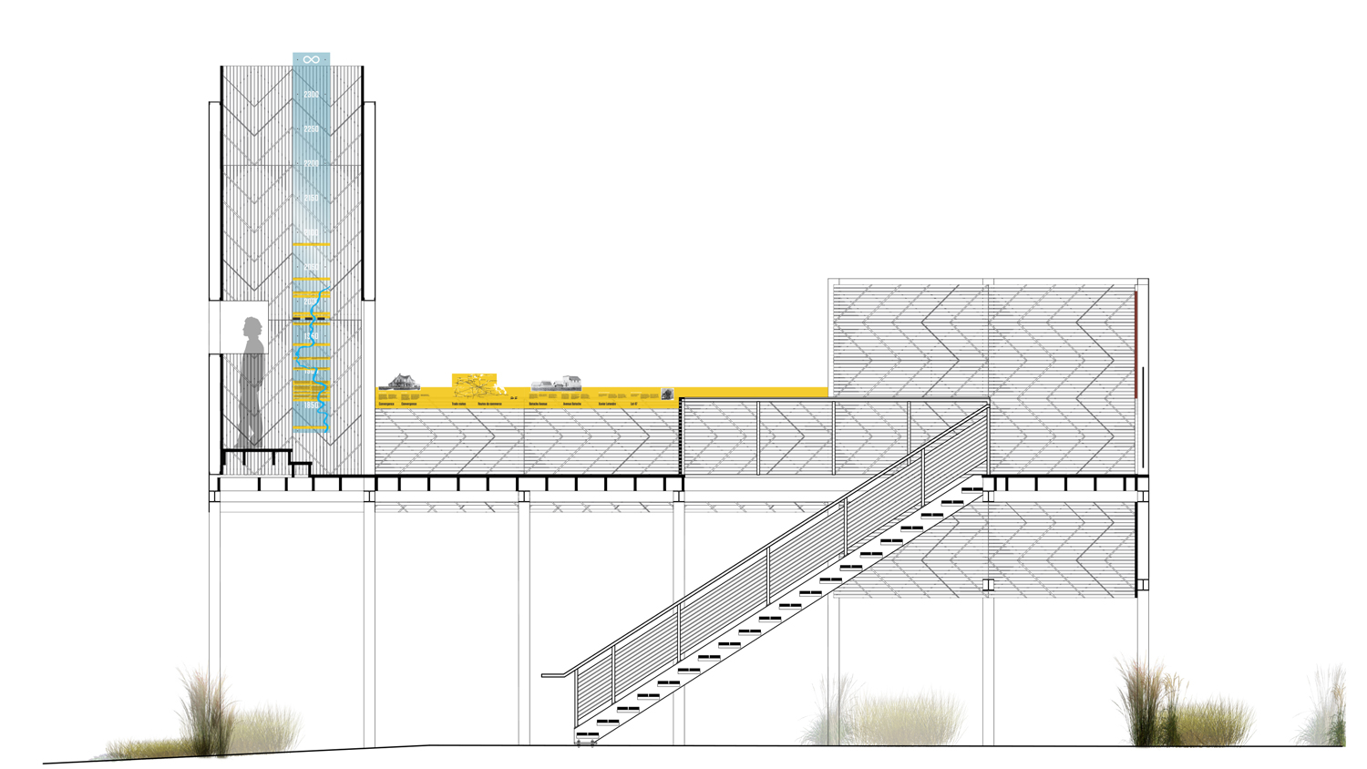 Section of the stage structure.