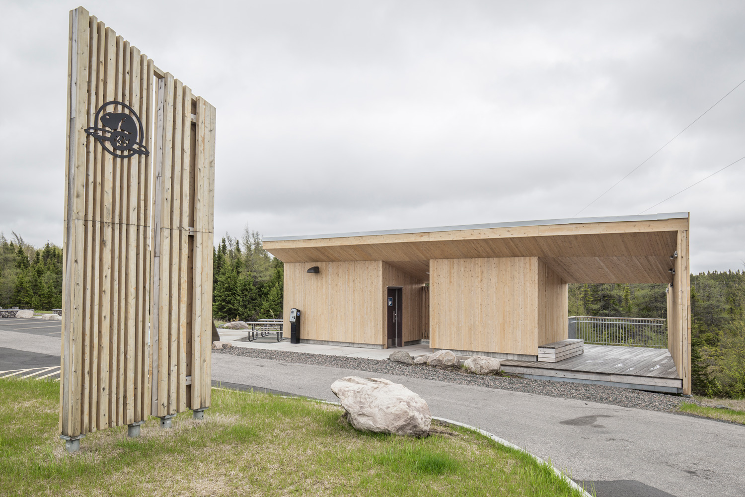 New visitor experience / washroom pavilions at the North and South ends of Terra Nova National Park provide information, orientation, and interpretive experiences.