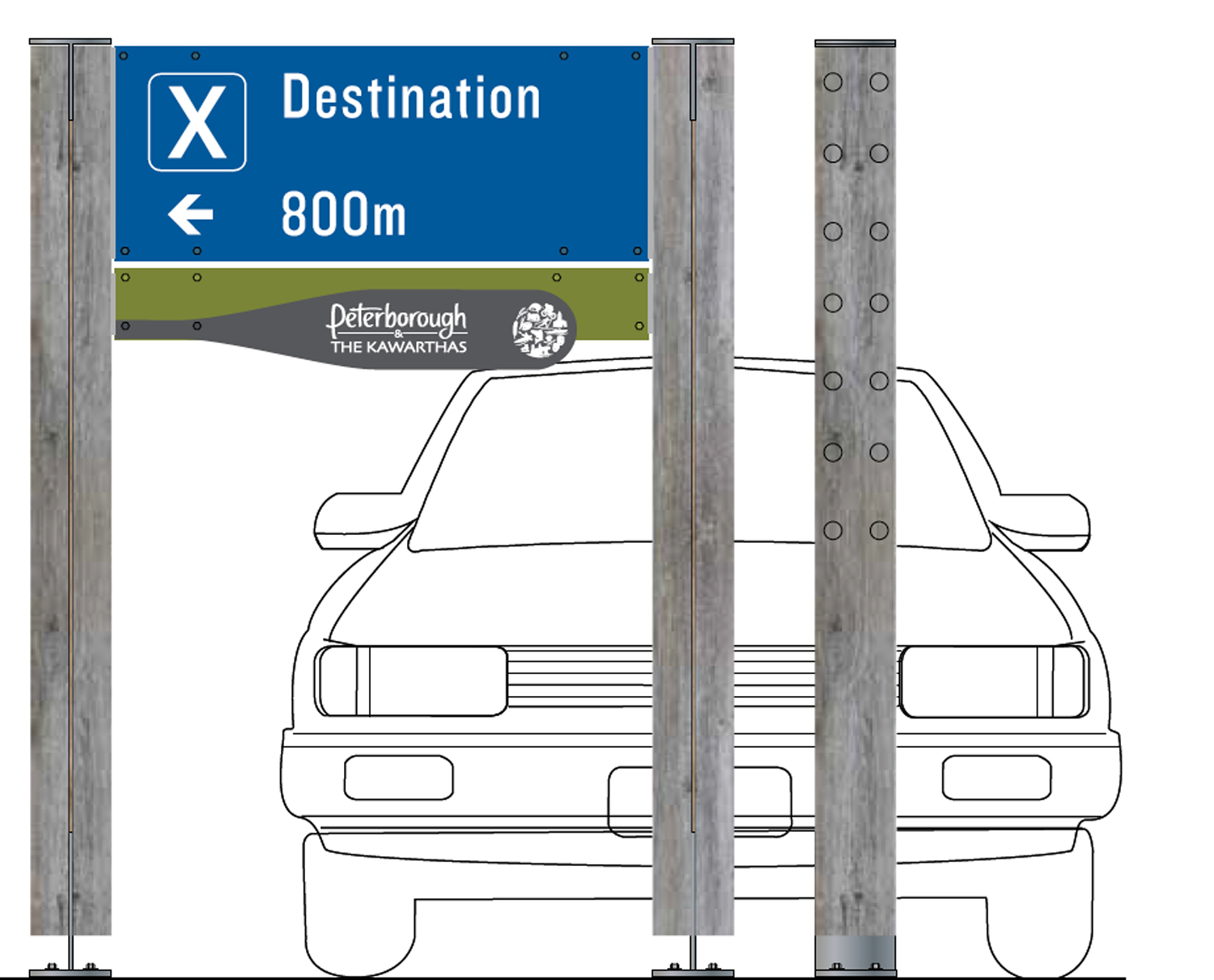 A range of highway signs guide visitors through the region, subtly presenting the regional brand, but focusing on the destinations that are nearby
