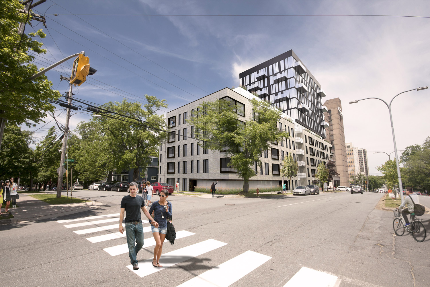 VIEW NORTH Corner of Robie and Shirley Streets.