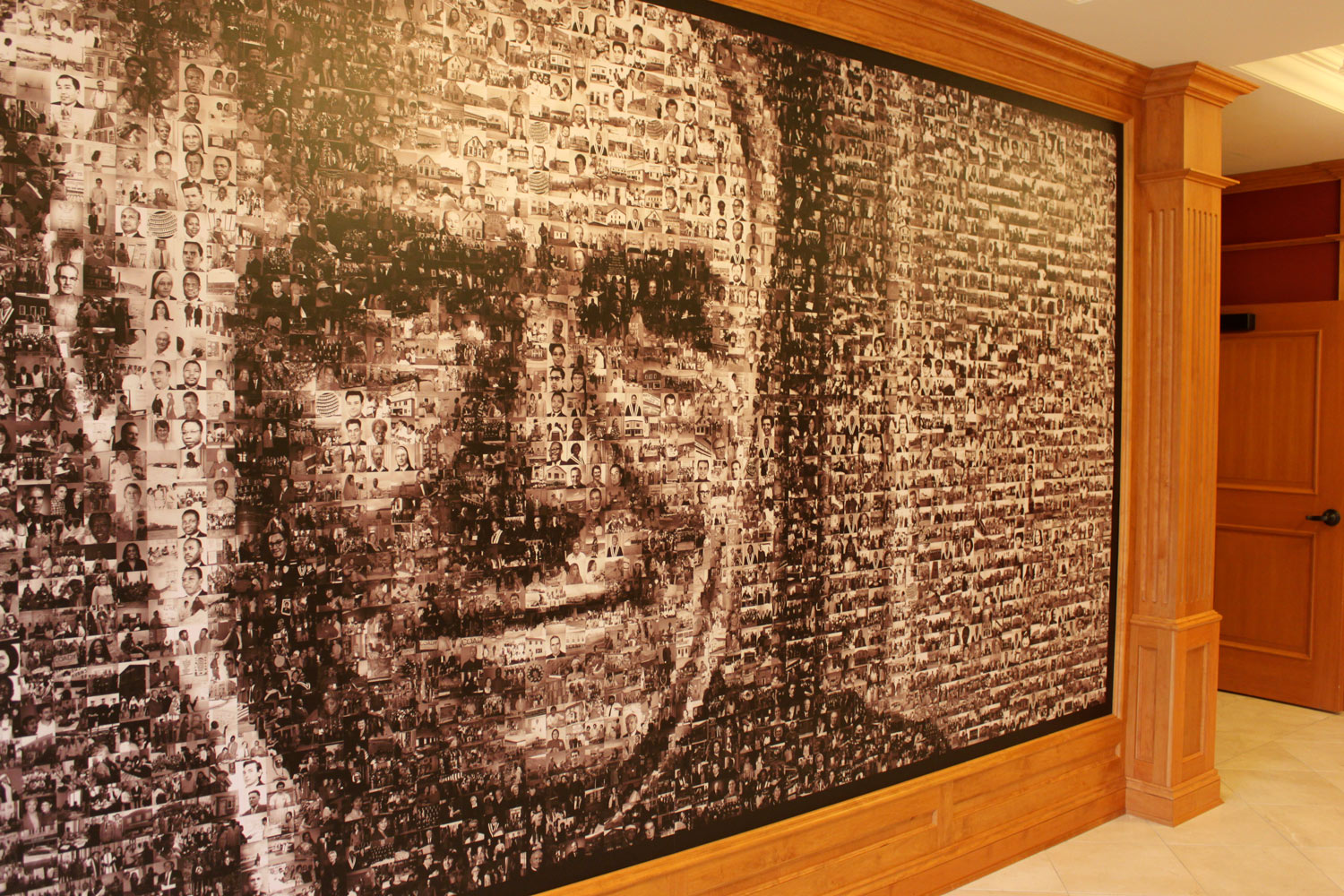 DISCOVERING THE COMMUNITY An intuitive touch screen interface to explore a stunning mosaic of Moses Coady, composed of more than 3500 photographs of people who have left a mark on the Institute.