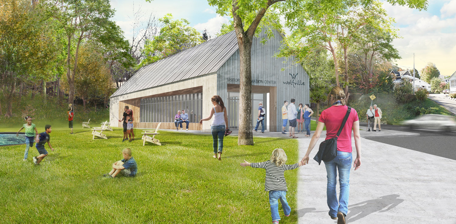 The masterplan features a new Visitors' Information Centre to help introduce visitors to the attractions and amenities in Wolfville.