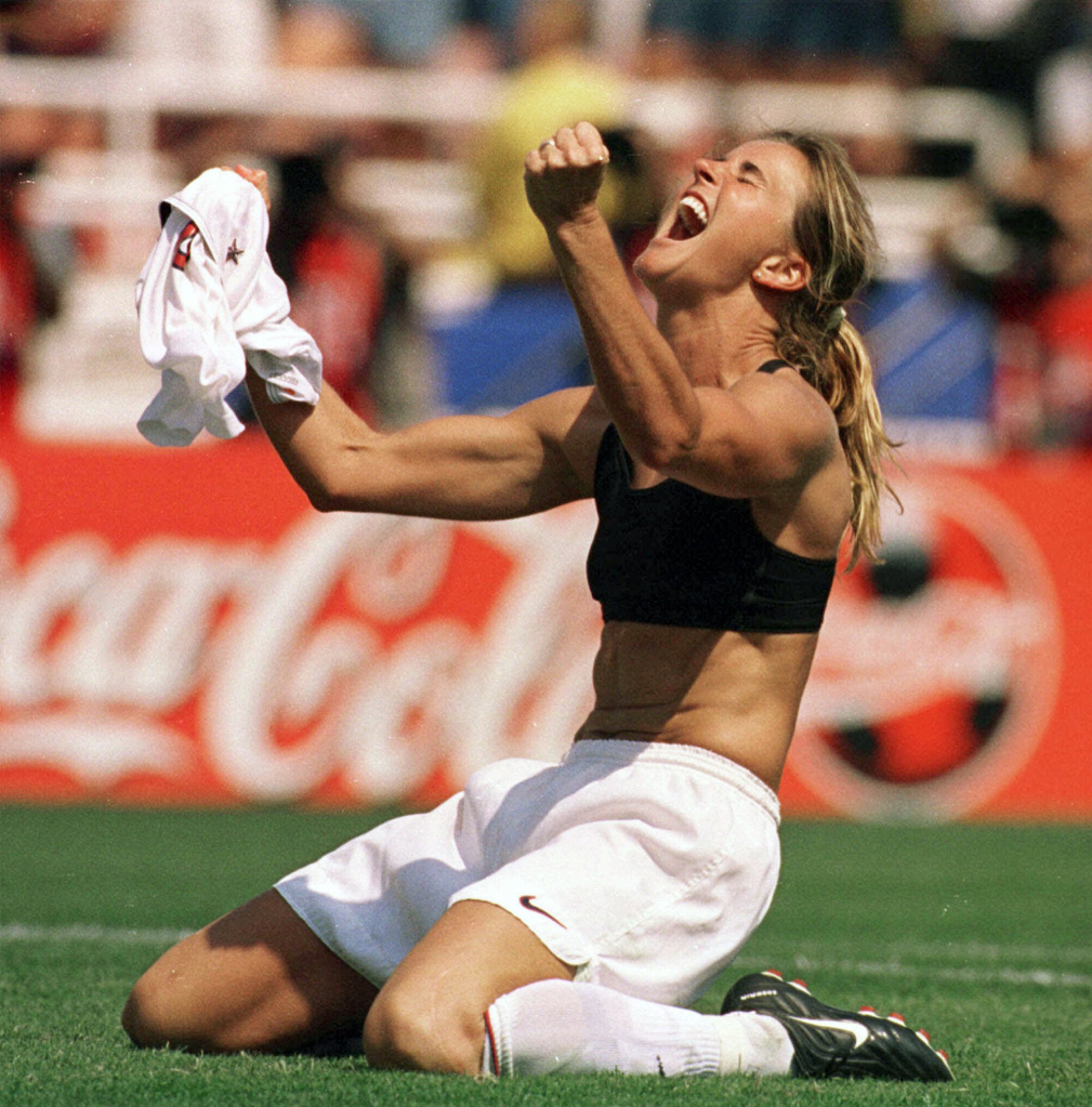 Brandi Chastain after her 1999 World Cup winning goal.  Lacy Atkins, AP Photo