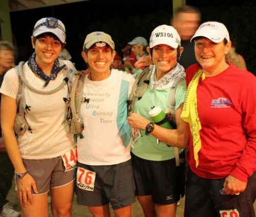 Near the start line with Sarah, Marian and Cheryl.  Photo by Andrea Stout.