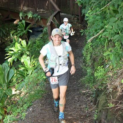 Sarah and Marian, running strong into Nature Center at the end of Loop 1.  Photo by Andrea Stout.