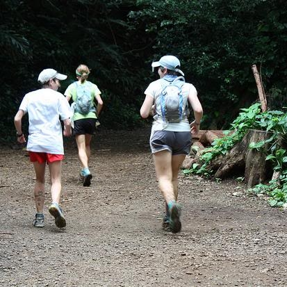 Coming into Paradise Park. Sarah and Andrea and my pacer, Sue (in front) were so encouraging!  Photo by Andrea Stout.