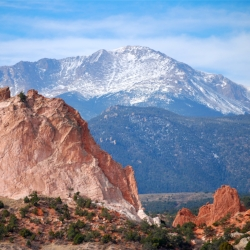 Pikes Peak as seen from Garden of the Gods.  Photo: Wikimedia.