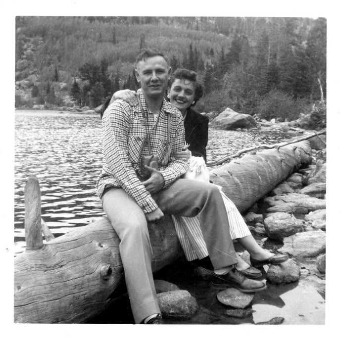 My grandparents in their natural habitat, a.k.a. Rocky Mountain National Park. 1950s.