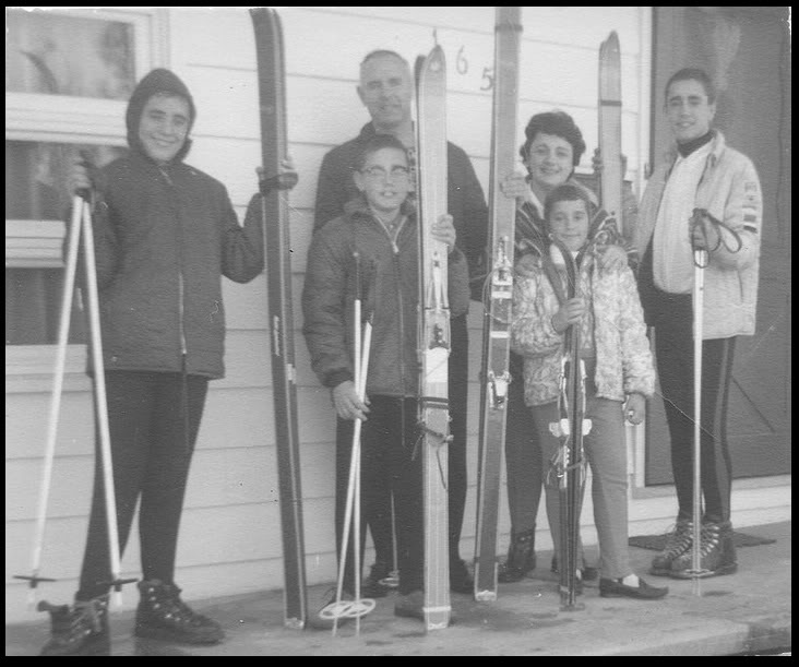 The family that skis together... 1964. Uncle David, Uncle Tom, my grandfather, my grandmother, Aunt Suzanne and Dad (L to R).