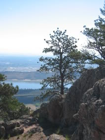 View from the summit, over Horsetooth Reservoir and the city of Fort Collins.