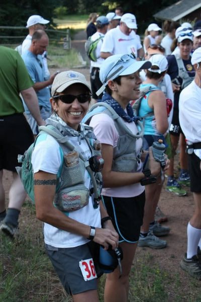 Sarah (cool as a cucumber) and me (apparently chanting some kind of prayer for my own survival?), at the start line.  Photo by Andrea Stout.