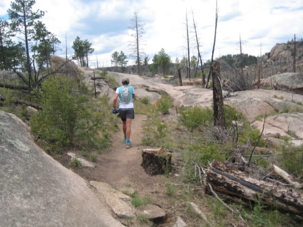 Along the Homestead Trail, climbing back up toward the Homestead aid station.