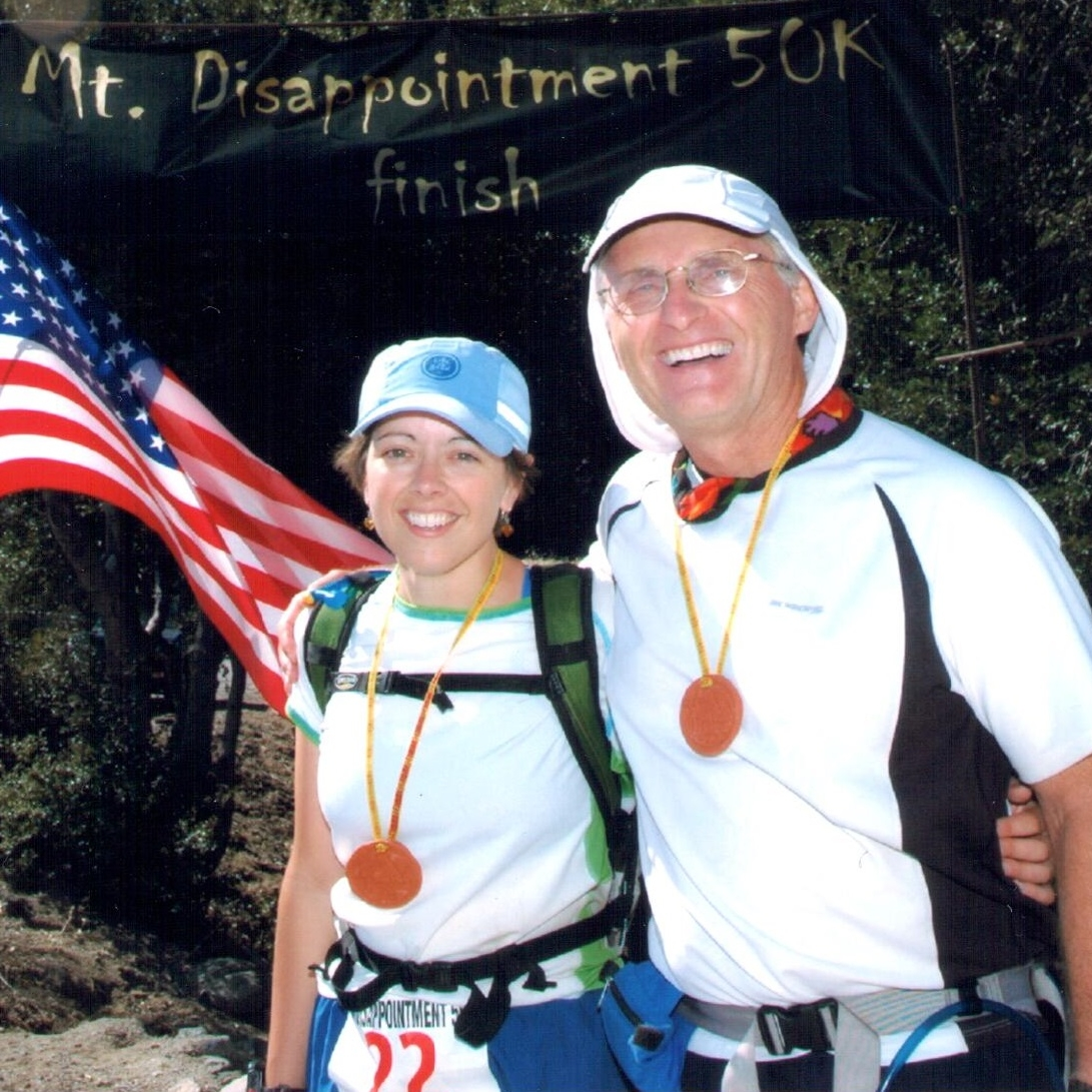 At the finish with Mike Schneider. Photo by Christi Brockway.