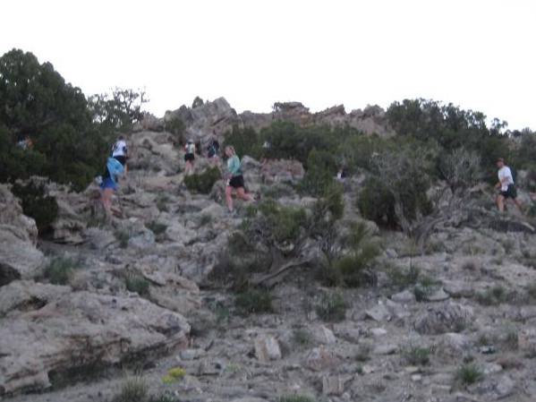 Switchbacks up the Moore Fun Trail as the sun is still rising.