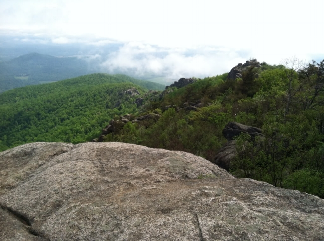 View east from Old Rag's summit, above the clouds.
