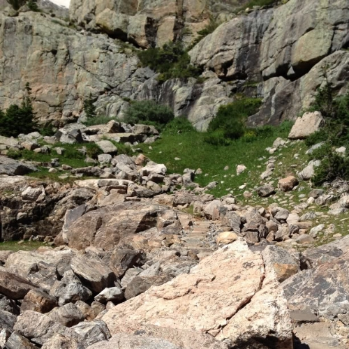 A bit more climbing...almost to Sky Pond!