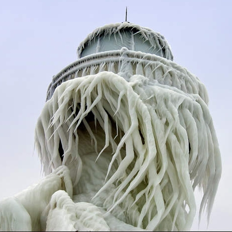 Tom Gill captured this amazing photo  of ice on this St. Joseph, MI lighthouse.
