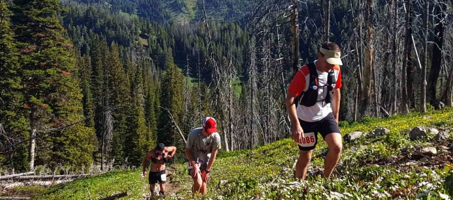 One step at a time, runners climb during the Old Gabe 50km (photo from the  Big Sky Winddrinkers site )