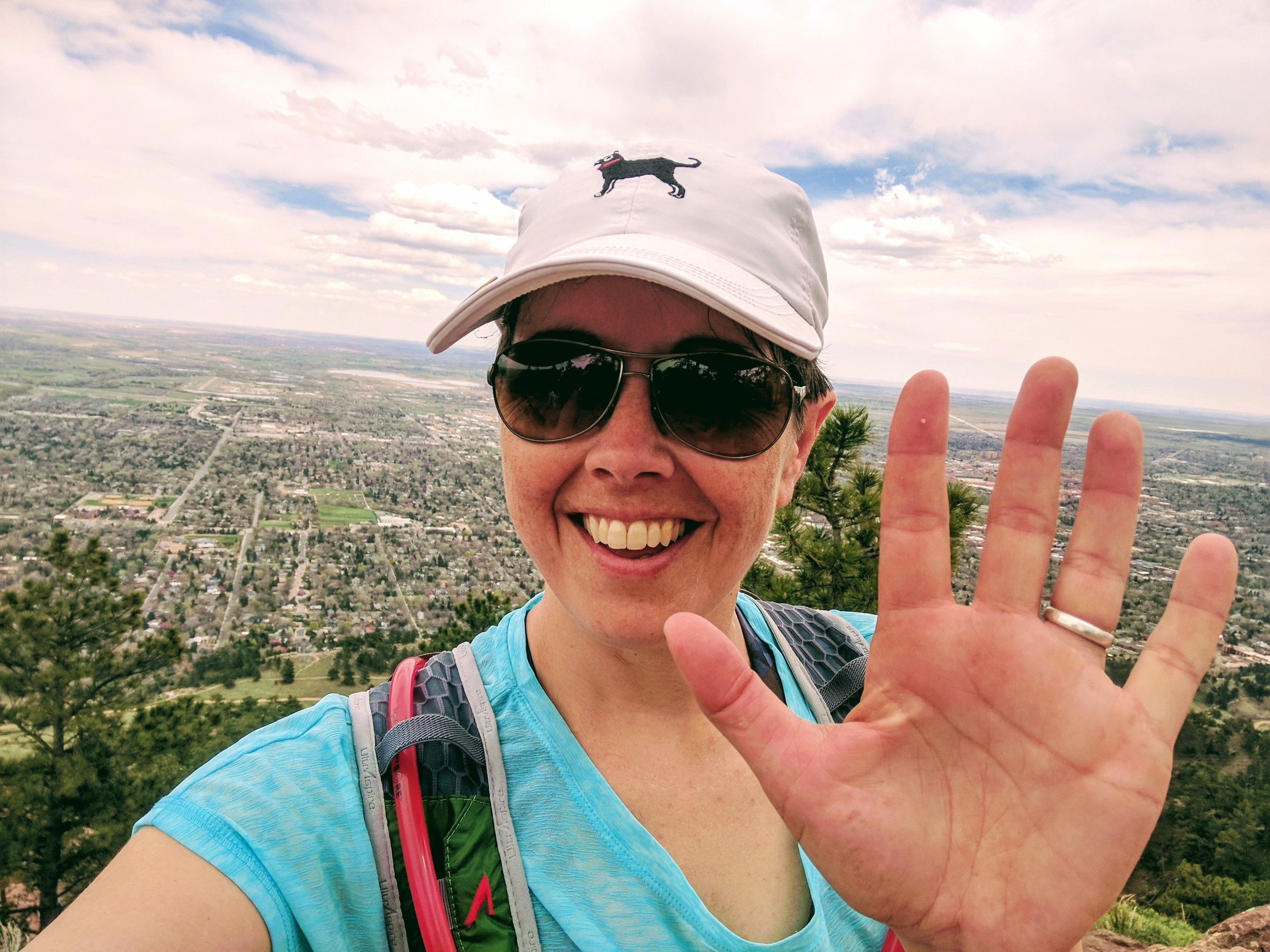 WHOO HOO! Mt. Sanitas, at 6,843', is the lowest of the five summits, but felt SO good to complete.