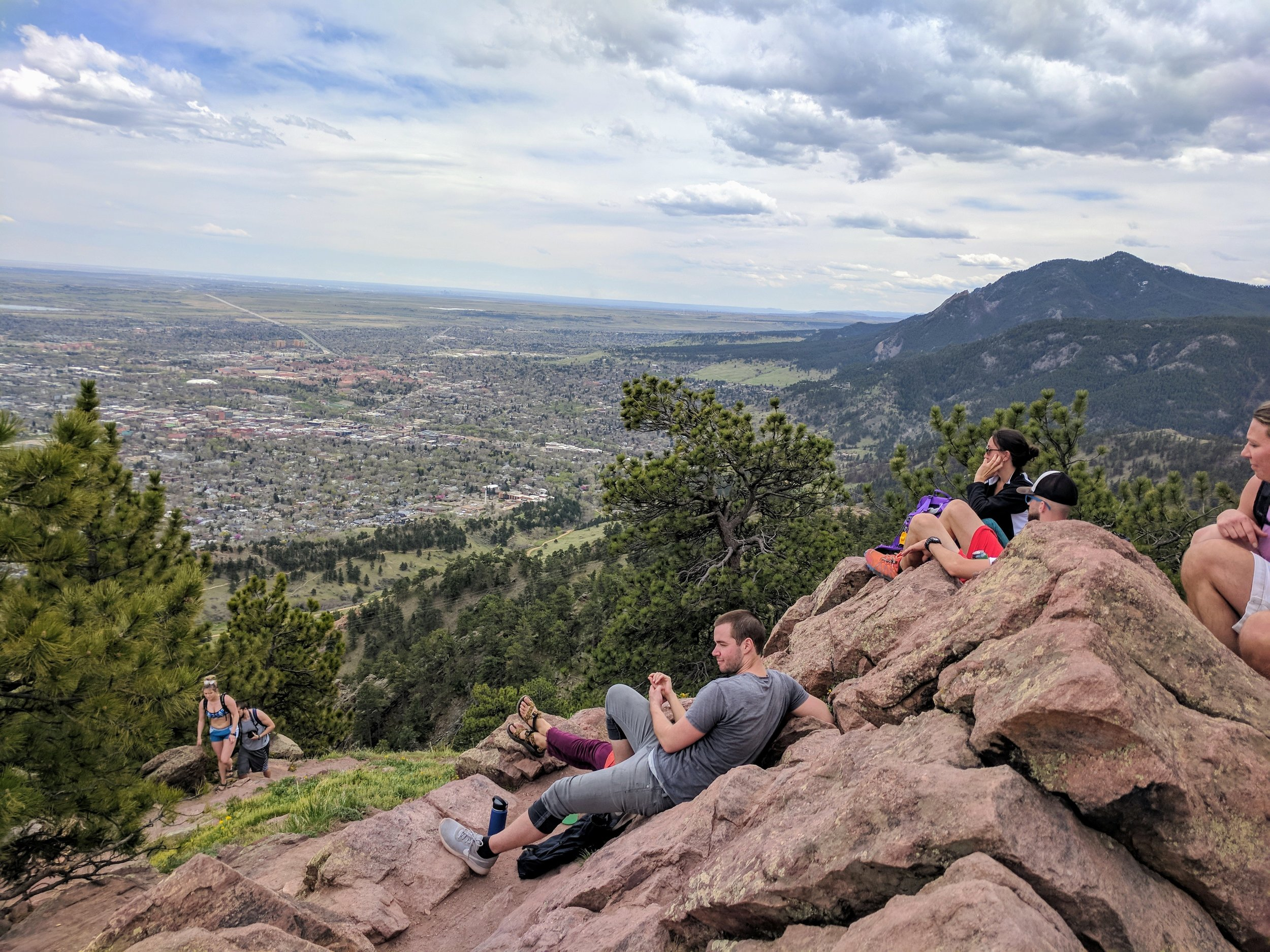 I had plenty of company on Sanitas' summit. Looking south, toward the other peaks I climbed today.