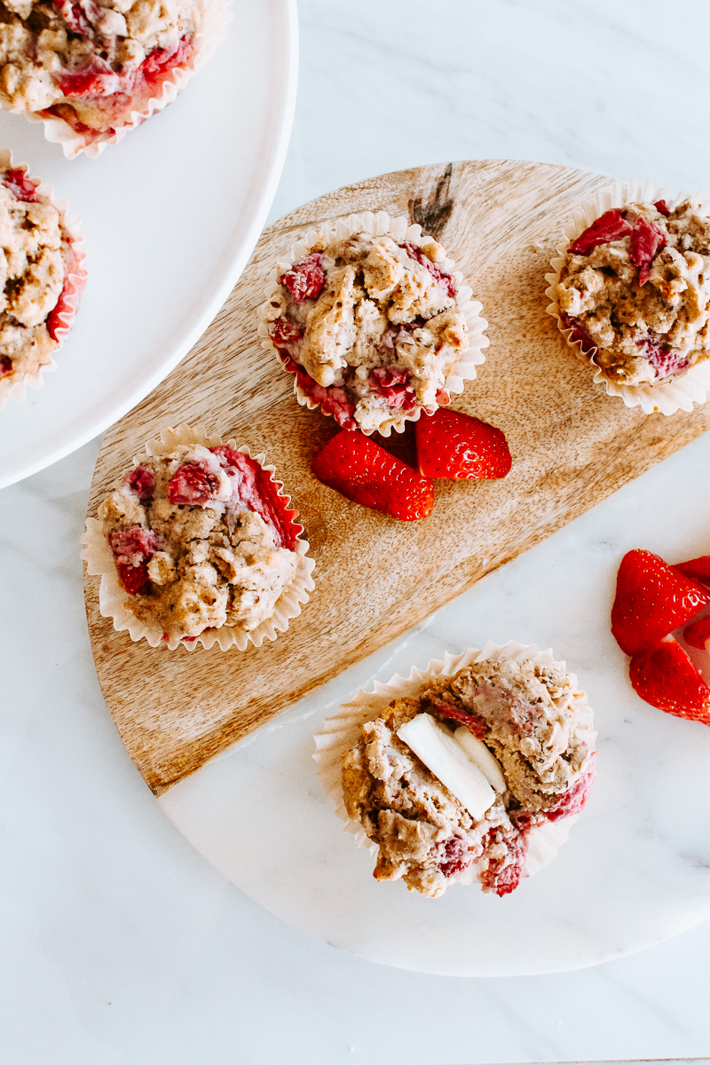 Strawberry Muffins - Ingredients:1 1/3c gluten-free all purpose flour (w/ xanthan gum)2/3c gluten-free rolled oats1/4c oat milk1/2c plain Forager Project Cashew Yogurt1/4c unsweetened applesauce1/3c honey1c strawberries (mine were thawed from frozen)1 tsp baking powder1 tsp baking soda1/2 tsp cinnamon1/2 tsp salt1 flax egg1 tsp vanilla extractInstructions:Preheat oven to 350. Line a 12 count muffin pan with cupcake liners.Add flour, oats, baking powder, baking soda, salt and cinnamon to a large bowl and mix until combined. Set aside.In a separate bowl add flax egg, applesauce, honey, vanilla extract, yogurt, and oat milk. Mix until well combined.Pour wet ingredients into dry ingredients and mix until combined.Fold in chopped strawberries.Fill each muffin tin with about a 1/4 cup muffin batter.Bake for 15-17 minutes. Remove from oven and allow to cool for about 5 minutes before serving.