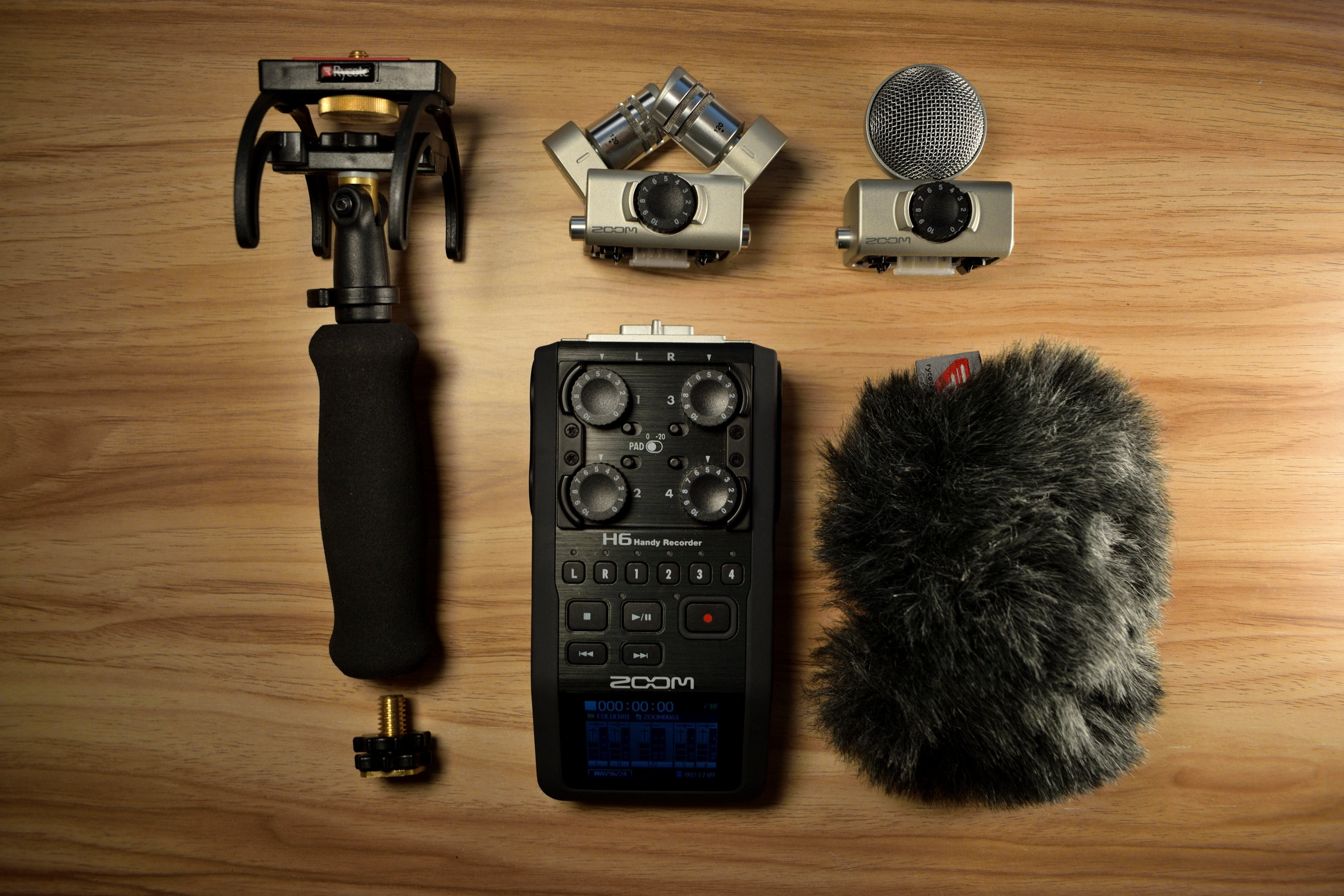 Zoom H6 with Windshield and Rycote Mount.JPG