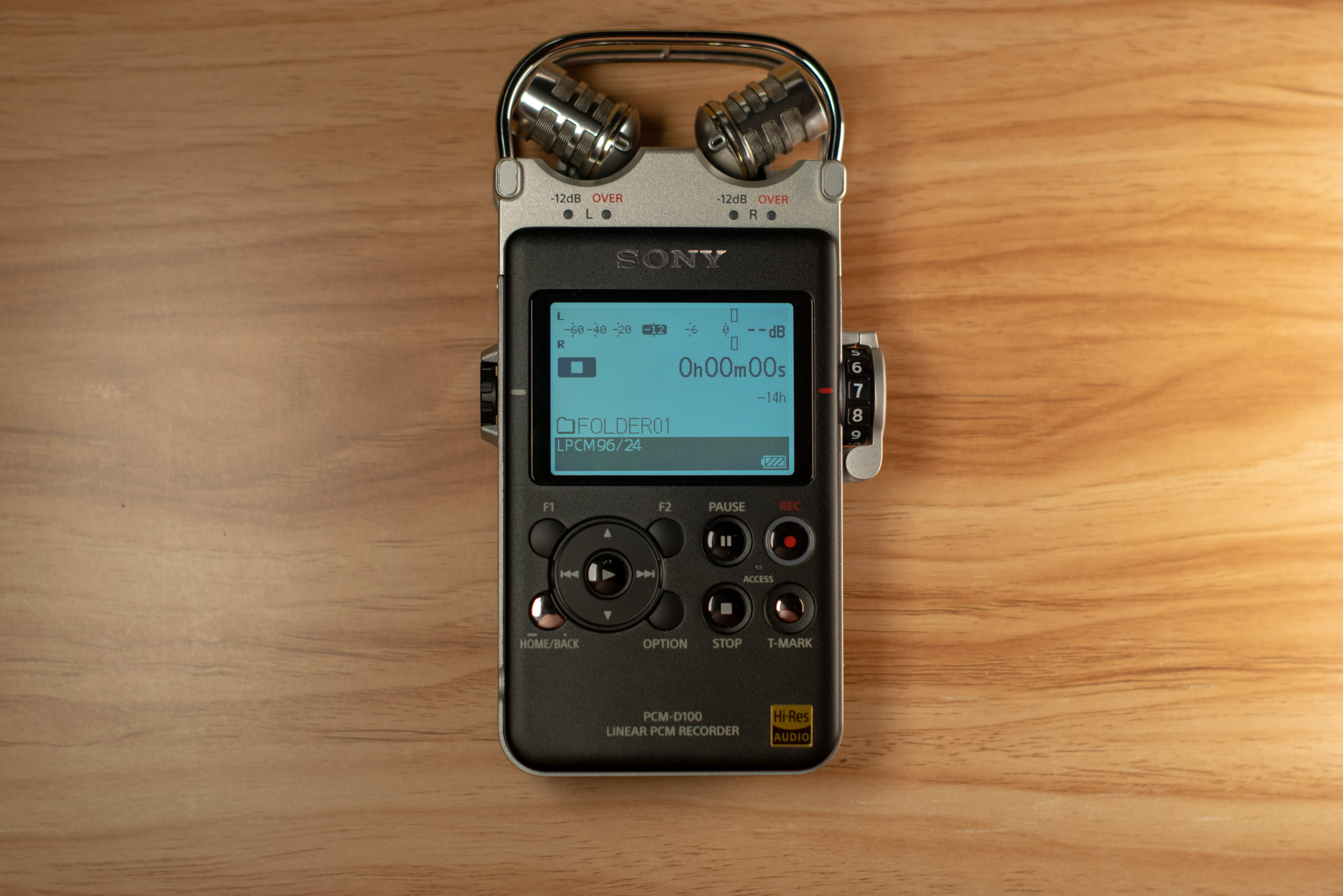Sony PCM-D100-1 Above View On.jpg