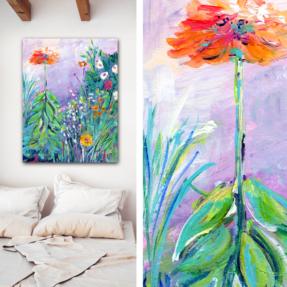 Gallery Wrap - Matte finish canvas print is professionally wrapped by hand onto a wooden panel. The artwork wraps the sides of the 1.5