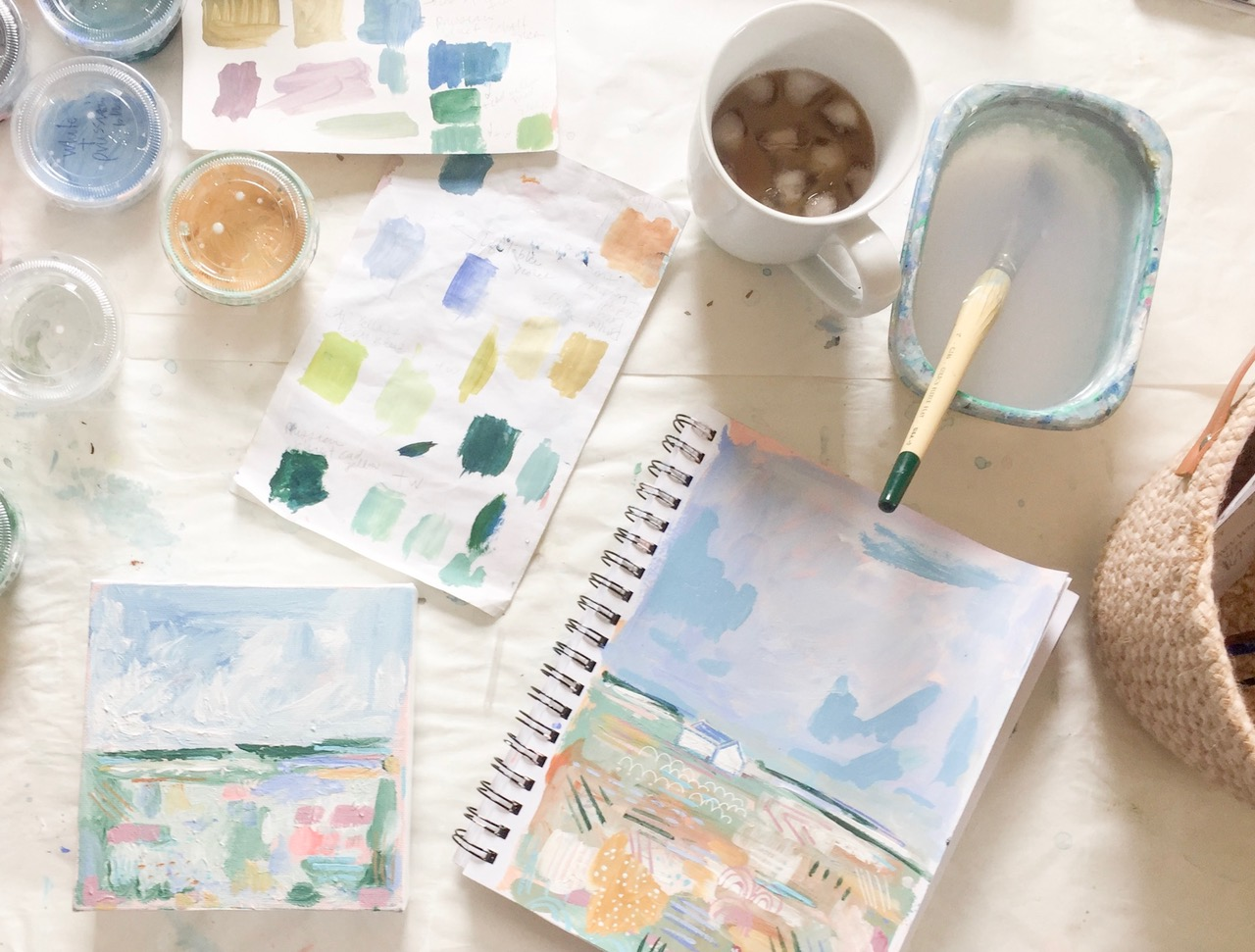 Daily painting essentials: Iced coffee in the summer, paints, color charts and sketchbook
