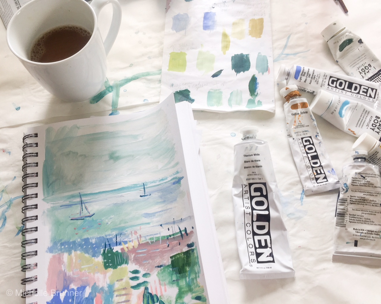 My sketchbook is a mixed media sketchbook and I use acrylics. Coffee and good music is also an important component to the daily sketch!